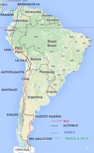 Percorso sud America