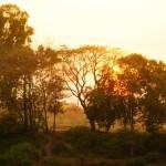tramonto lungo il Mekong a Paksan